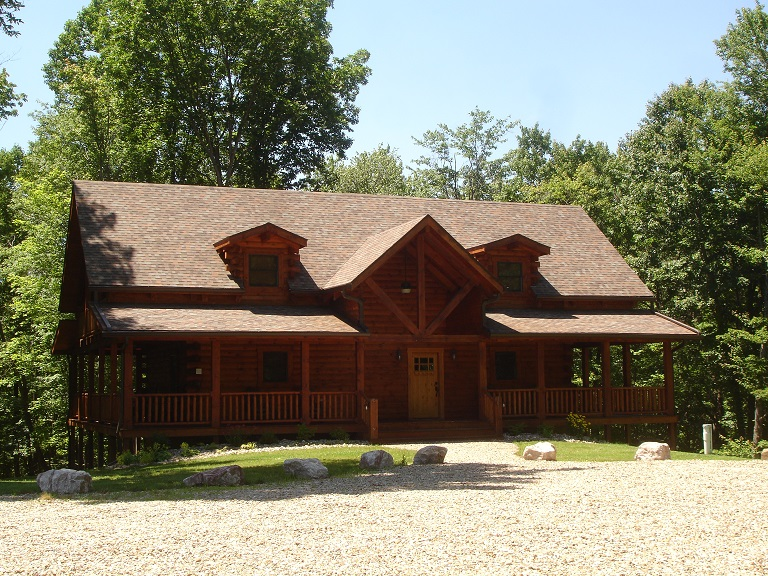 Black Forest Chalet is a log home vacation rental in Laualeville, Ohio near Hocking Hills State Park